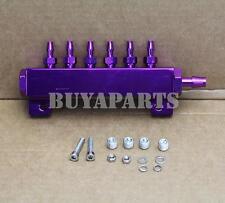 JDM Turbo Wastegate Boost Fuel Vacuum Gas Manifold Kit w/ 6 Ports 1/8 NPT Purple