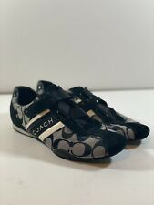 New listing Coach Signature Jenney Black Sneakers Shoes Size 7.5 Women Adjustable Strap FL32