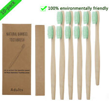 10x Bamboo Toothbrush Oral Care Environmental Teeth Brushes Soft Bristles Green
