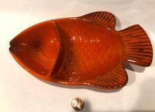 Vintage Metlox Poppytrail Red Rooster Fish Pickle Dish Tray Pottery Goldfish Koi