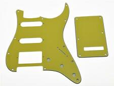 ST Strat HSS Pickguard, Back Plate Cover w/ Screws Pure Yellow 3 Ply for Fender