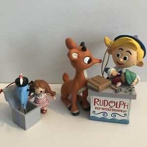 Rudolph the Red Nosed Reindeer Set of 2 Ornaments Hermey Elf Dentist Classic VG