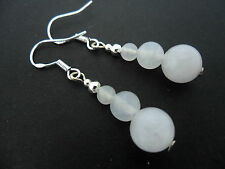 A PAIR OF MILKY WHITE JADE  EARRINGS WITH 925 SOLID SILVER HOOKS. NEW..