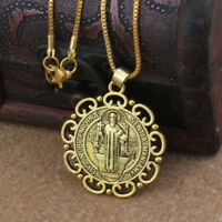 """Gold Saint St Benedict Protection Medal Ornate Pendant Necklace 24"""" Box Chain"""
