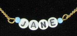 Jane - Name Necklace Gold Tone Blue Glass - Circa 1950-60