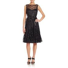 RICKIE FREEMAN for TERI JON Dot Mesh Pintucked Dress ($485) Size 8