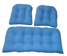Solid Pool Blue Cushions for Wicker 3 Pc Set - Indoor / Outdoor Fabric