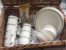 4 Person Traditional Picnic Hamper Wicker Basket And Contents