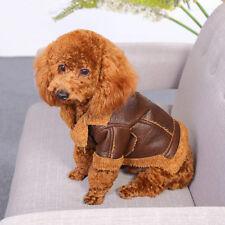 Pet Dog Clothes Fall Winter Soft Warm Coat Punk Velvet Leather Jacket Sweater