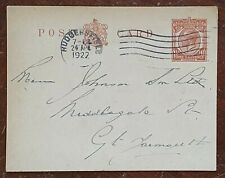 1922 Pre Paid Postcard to Johnson, Middlegate Street, Great Yarmouth
