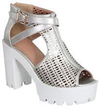 New Women Ankle Strap Platform Zip Open Toe Buckle Chunky Heels Sandal Booties