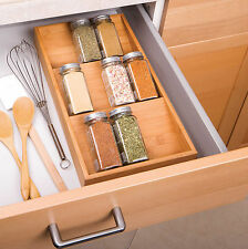 Natural Bamboo 3-Tier Spice Tray Drawer Organizer, Countertop Herb Storage Rack