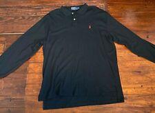 EUC Vintage Polo Ralph Lauren Rugby Long Sleeve Shirt Black Red Sz XL