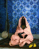 Wonderful Oil painting Jean-Leon Gerom - Female Arab portrait The Black Poet