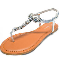 New women's shoes sandals t strap open toe rhinestones detail casual Silver