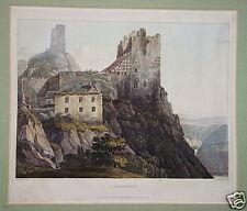 Burg Liebenstein Rhein Kamp-Bornhofen Aquatinta 1819
