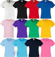 Fine T-shirt Bambina/girl Fruit Of The Loom Maglietta A Manica Corta Nuova Originale Sale Price Abbigliamento Per Lo Sport T-shirt E Maglie