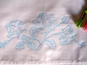Printed to hand Embroider easy care pair cotton pillow case English Rose CS0012
