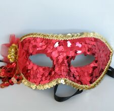Venetian Face Masquerade Mask Red Sequin Gold Trim * NEW *