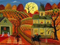 FoLk ArT PaiNtInG PrInT HeAdLeSS HoRsEmEn CaT PuMpKiN WiTcH GhOsT ScArE cRoW BaT