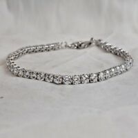 "4.00 Ct Real Diamond Tennis Bracelet 7.50"" Round Diamonds 14K White Gold 3 MM"