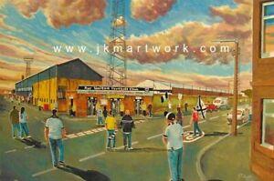 Somerset Park Stadium 'Going to the Match' Fine Art A4 Framed Print - Ayr United
