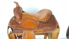 """16"""" CLASSIC TOOLED LEATHER WESTERN SHOW HORSE COWBOY RANCH TRAIL SADDLE TACK"""
