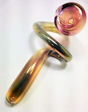 Glass Tobacco Smoking Pipe - Simple Gold Fumed Sherlock - Made in Colorado, USA