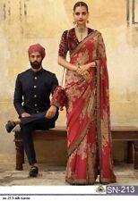 Red Floral Print Sari Saree Indian Ethnic Designer Wedding Wear Lehenga Choli