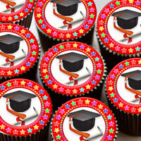 GRADUATION CONGRATULATIONS RED- CUPCAKE TOPPERS EDIBLE WAFER RICE PAPER GRAD