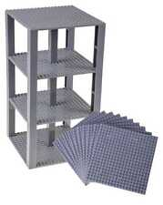 "Lego Base Plates Brick Building Stackable Tower Mega Bloks 10 Pieces 6""x6"" Gray"