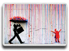 Banksy Colour Rain Street Art, Colour Rain happy girl FRIDGE MAGNET! JUMBO SIZE