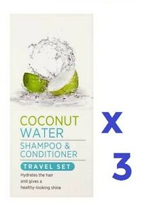 3 x Superdrug Coconut Water Shampoo & Conditioner Travel Set 6 x 50ml