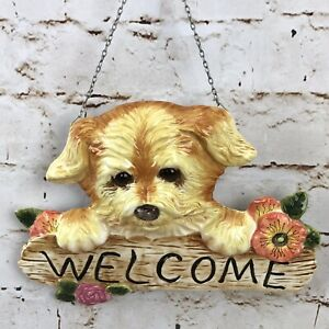 Dog Welcome Sign Wall Hanging Plaque Rose Orange Flower Puppy Hound Home Decor