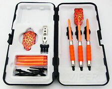 Orange Leopard Slim Rubberized Sure Grip Soft Tip Dart Set + Case 16 gram - 3