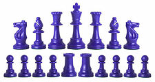 NEW Half Set (17 Pieces) Staunton Chess Pieces - Royal Blue