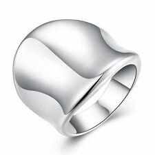 925 Silver Plt Mens / Ladies Large Thumb Shield Statement Ring Chunky Heavy D