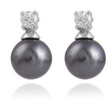 7-8mm Freshwater Pearl Sterling Silver Cubic Zirconia Stud Earrings Gift Box PE