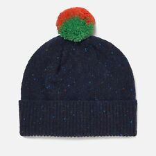 PAUL SMITH WOMEN'S 100% WOOL MARBLE POM POM BOBBLE HAT BLUE MADE IN SCOTLAND NWT