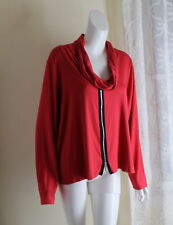 Comfy USA -Sz 1X Elegant RED Luxury Jersey Cowl Monk Neck Shirt Top Knit Blouse