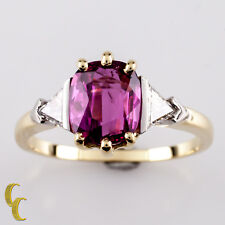 18k Yellow Gold 1.50 Carat Ruby Solitaire with Trillion Diamond Accent Ring