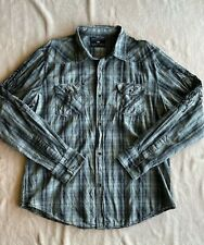 Buckle Pop Icon Clothing Mens Long Sleeve Embroidered Western Shirt Size XL Gray