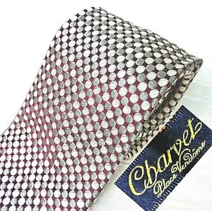 NWOT CHARVET France Silk Bamboo Neck Tie Glossy Blood Red + Silver Gray Circles