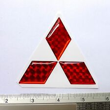 MITSUBISHI PLATE RESIN EMBLEM DOMED 3D CAR BADGE STICKER : RED FREE SHIPPING