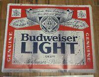 """Vtg BUDWEISER LIGHT STICKER Anheuser Busch Beer 14.5x18.5"""" FRIDGE TRUCK Cooler"""