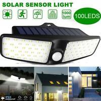 100 LEDSolar Powered PIR & Lichtsensor Außenwand Gartenleuchte