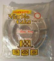 BAKE KING Vintage Marble Checkered Cake Pan Set - 3 PANS +  Divider Triple Layer