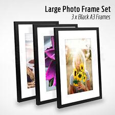 3 PCS Large Photo Frame Set A3 BLACK Picture Frames Multi Bulk Wall