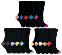 5 Pack Womens Colored / Multi Color Heel and Toe Cotton Blend Dress Crew Socks