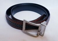 Columbia Leather Brown Black Braided Reversible Belt Mens Size 34